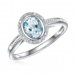14K White Gold Oval Aquamarine Halo Ring