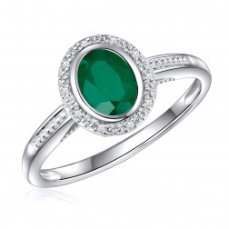 14K White Gold Oval Emerald Halo Ring