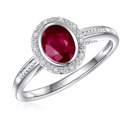 14K White Gold Oval Ruby Halo Ring