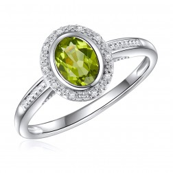 14K White Gold Oval Peridot Halo Ring