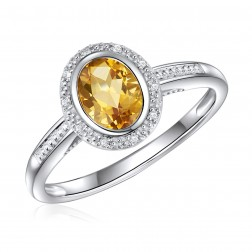 14K White Gold Oval Citrine Halo Ring