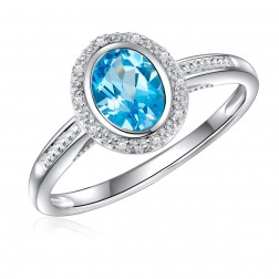14K White Gold Oval Swiss Blue Topaz Halo Ring