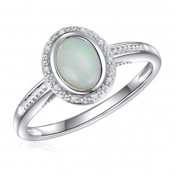 14K White Gold Oval Opal Halo Ring