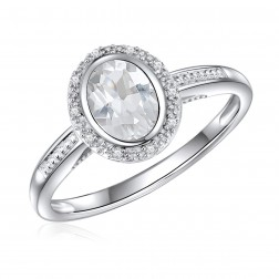 14K White Gold Oval White Topaz Halo Ring