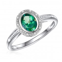 14K White Gold Oval Passion Rain Forest Green Halo Ring