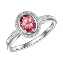 14K White Gold Oval Passion Pink Topaz Halo Ring