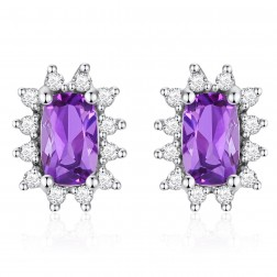 14K White Gold Cushion Earrings With Amethyst and Diamonds