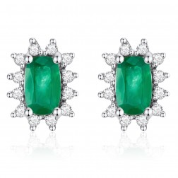 14K White Gold Cushion Earrings With Emerald and Diamonds