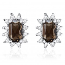14K White Gold Cushion Earrings With Smokey Quartz and Diamonds