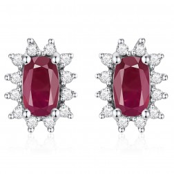 14K White Gold Cushion Earrings With Ruby and Diamonds