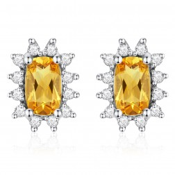 14K White Gold Cushion Earrings With Citrine and Diamonds