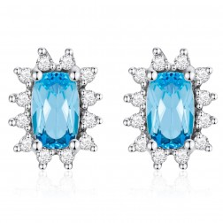 14K White Gold Cushion Earrings With Swiss Blue Topaz and Diamonds