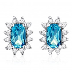 14K White Gold Cushion Earrings With London Blue Topaz and Diamonds