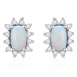 14K White Gold Cushion Earrings With Opal and Diamonds