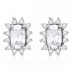 14K White Gold Cushion Earrings With White Topaz and Diamonds
