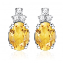 14K White Gold Oval Earrings With Citrine and Diamonds