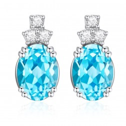 14K White Gold Oval Earrings With Swiss Blue Topaz and Diamonds