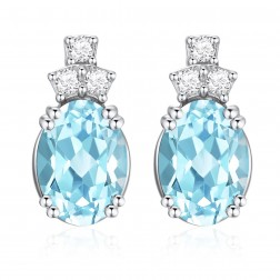 14K White Gold Oval Earrings With Light Blue Topaz and Diamonds