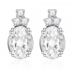 14K White Gold Oval Earrings With White Topaz and Diamonds