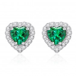 10K White Gold Halo Heart Earrings with Passion Rain Forest Green and White Topaz