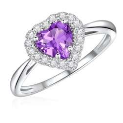 10K White Gold Halo Heart Ring with Amethyst and White Topaz