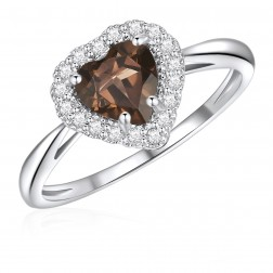 10K White Gold Halo Heart Ring with Smokey Quartz and White Topaz
