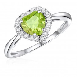 10K White Gold Halo Heart Ring with Peridot and White Topaz