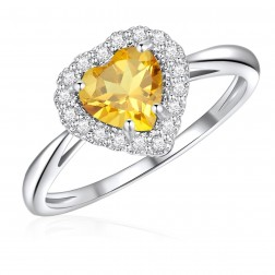 10K White Gold Halo Heart Ring with Citrine and White Topaz