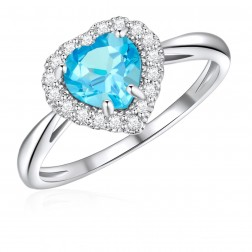 10K White Gold Halo Heart Ring with Swiss Blue Topaz and White Topaz