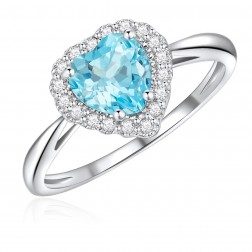 10K White Gold Halo Heart Ring with Sky Blue Topaz and White Topaz