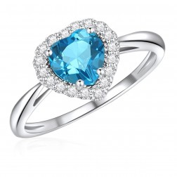10K White Gold Halo Heart Ring with London Blue Topaz and White Topaz