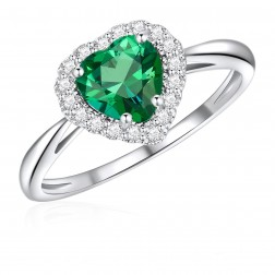 10K White Gold Halo Heart Ring with Passion Rain Forest Green and White Topaz