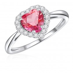 10K White Gold Halo Heart Ring with Passion Pink Topaz and White Topaz
