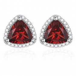 14K White Gold Trillium Earrings With Garnet and Diamonds