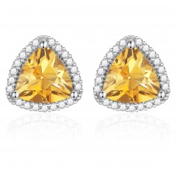 14K White Gold Trillium Earrings With Citrine and Diamonds