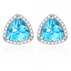 14K White Gold Trillium Earrings With Swiss Blue Topaz and Diamonds