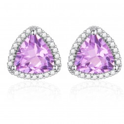 14K White Gold Trillium Earrings With Pink Amethyst and Diamonds