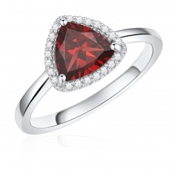 14K White Gold Trillium Halo Ring with Garnet and Diamonds