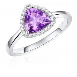 14K White Gold Trillium Halo Ring with Amethyst and Diamonds