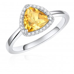 14K White Gold Trillium Halo Ring with Citrine and Diamonds