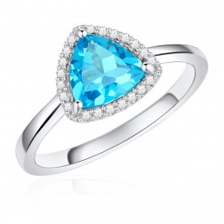 14K White Gold Trillium Halo Ring with Swiss Blue Topaz and Diamonds