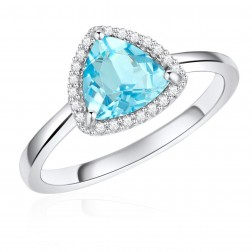 14K White Gold Trillium Halo Ring with Blue Topaz and Diamonds