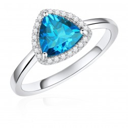 14K White Gold Trillium Halo Ring with London Blue Topaz and Diamonds