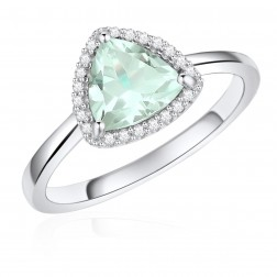 14K White Gold Trillium Halo Ring with Mint Quartz and Diamonds