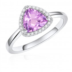 14K White Gold Trillium Halo Ring with Pink Amethyst and Diamonds