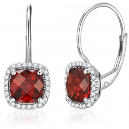 14K White Gold Cushion Earrings With Garnet and Diamonds