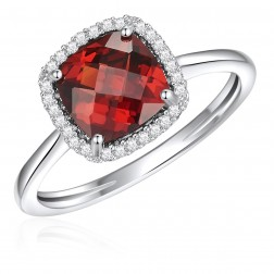 14K White Gold Cushion Halo Ring with Garnet and Diamonds