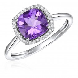 14K White Gold Cushion Halo Ring with Amethyst and Diamonds