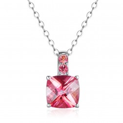 10K White Gold Cushion Pendant With Passion Pink Topaz