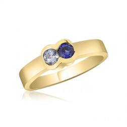 10K Yellow Gold Simple Mother's Ring – 2 Birthstone Family Ring